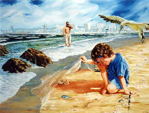 liittle boy lifting the skin of the sea by tonkinson-art-001
