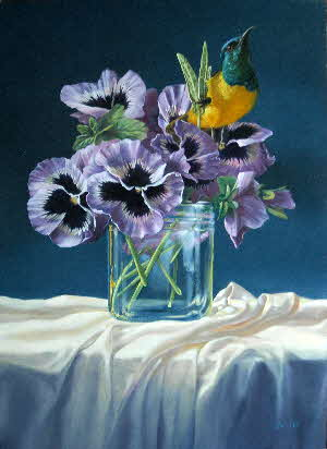 pansies and sunbird-by Tonkinson