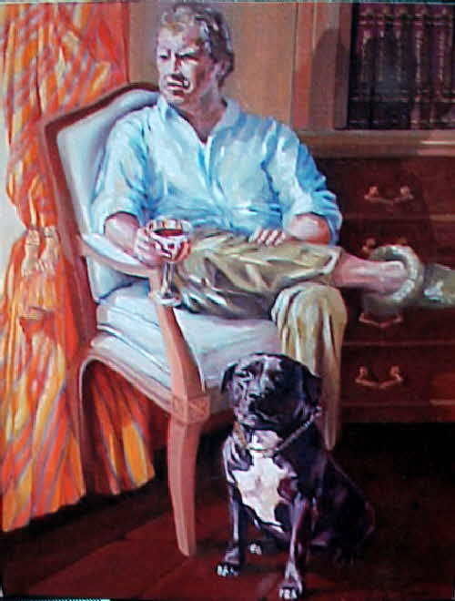 portrait of cezar and his master a mans best friend by tonkinson-art