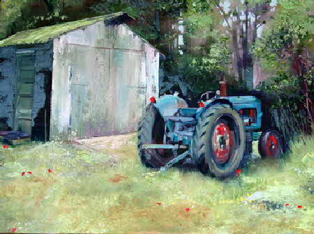 palette knife paiting the old tractor - Radio Kootwijk